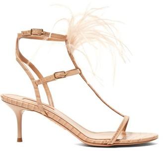 Aquazzura Ponza 60 Feather-embellished Leather Sandals - Womens - Nude