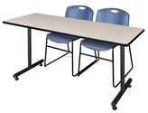 "BEIGE Marin Training Table with Wheels Symple Stuff Size: 29"" H x 66"" L x 24"" W, Tabletop Finish: Beige, Chair Finish: Blue"
