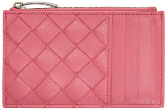 Bottega Veneta Pink Intrecciato Zip Card Holder