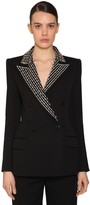 Givenchy Check Double Breast Wool Crepe Blazer