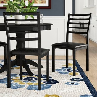 Hokku Designs Crawford Upholstered Ladder Back Side Chair in Black