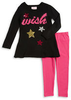 Flapdoodles Girls 2-6x Two-Piece Star Accented Sweater and Leggings Set