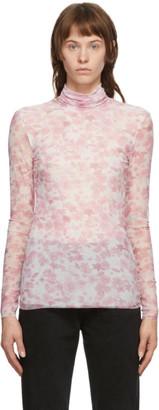 Ganni Pink Mesh Floral Turtleneck