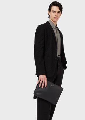 Emporio Armani Hand-Held Pochette With Eagle Plaque