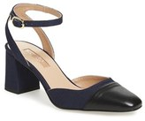 Topshop Women's 'Jewel' Cap Toe Block Heel Pump