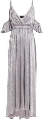 Just Cavalli Cold-shoulder Metallic Plisse-jersey Maxi Dress