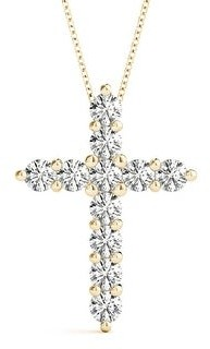 14KT Gold 1.00 CT Medium Size Round Diamond Cross Pendant Necklace Amcor Design