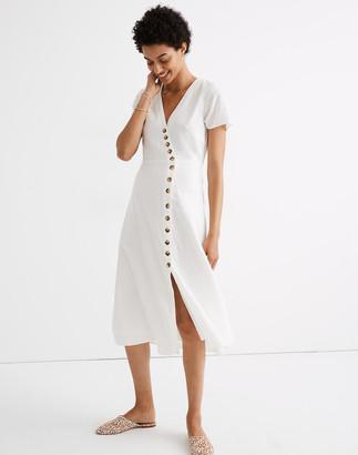 Madewell Petite Linen-Blend Button-Wrap Midi Dress