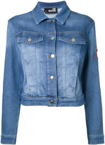 Love Moschino cropped denim jacket - women - Cotton/Polyester/Spandex/Elastane - 40