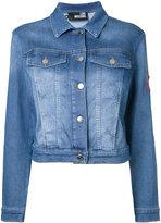 Love Moschino cropped denim jacket - women - Cotton/Polyester/Spandex/Elastane - 42