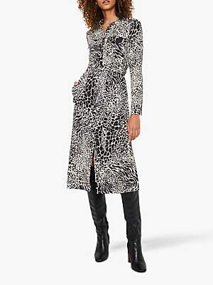 Warehouse Mixed Animal Print Midi Shirt Dress, Black Pattern