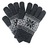 Knitted Touchscreen Texting Gloves Unisex Snowflake Design Warm Winter Gloves for Touchscreen Electronic Devices (Dark Grey)