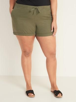 Old Navy Mid-Rise Plus-Size Linen-Blend Shorts