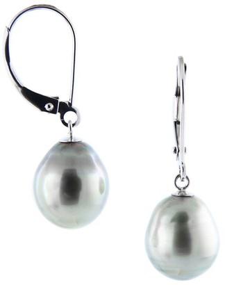 Masako 9-10MM Black Pearl Lightweight Leverback Earrings