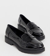 Glamorous Wide Fit black patent chunky loafers