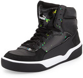 Puma Brace Mid-Top Leather-Trim Sneaker, Black/Flame/Scarlet