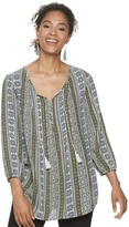Sonoma Goods For Life Women's SONOMA Goods for Life Print Pintuck Peasant Top