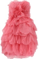 Oscar de la Renta Strapless Tulle Petal Dress