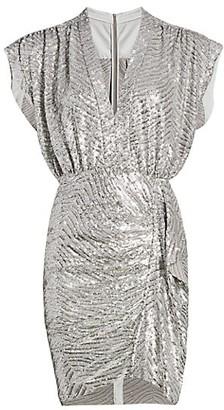 IRO Sagria Zebra Sequin Dolman-Sleeve Mini Dress