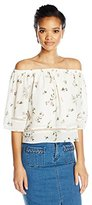 Lucca Couture Women's Floral Print Off Shoulder Top with Ladder Trim
