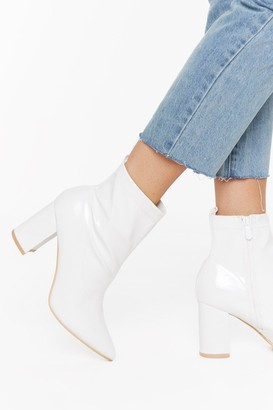 Nasty Gal Womens Walk the Walk Faux Patent Leather Boots - White - 5, White