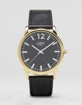 Limit Black Leather Watch With Black Dial Exclusive To ASOS