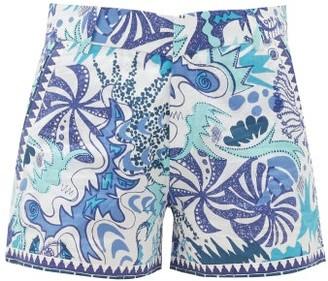 Le Sirenuse Le Sirenuse, Positano - Psycho-print Linen Shorts - Womens - Blue Print