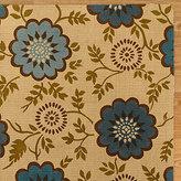 Teal Floral Block Print Micro Jute Rug