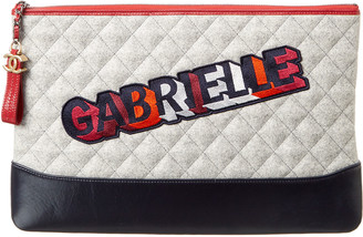 Chanel Lambskin Leather Quilted Gabrielle O Case Pouch Clutch