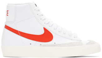 Nike White and Red Blazer Mid 77 Vintage Sneakers