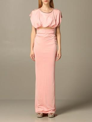 Elisabetta Franchi Long Dress With Rhinestones