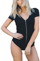 Bling Stars Women Bodysuit V Neck Striped Jumpsuit Stretch Leotard Bodycon Top