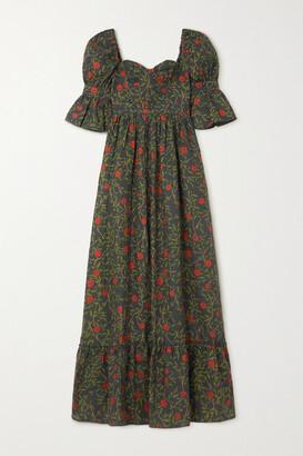 Agua Bendita Lima Embroidered Floral-print Linen Maxi Dress - Black