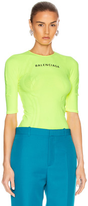 Balenciaga Athletic Top in Fluo Yellow & Black   FWRD
