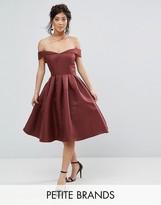 Chi Chi Petite Chi Chi London Petite Off Shoulder Full Prom Midi Dress