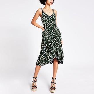 River Island Womens Green animal print ruffle cami slip dress