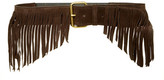JJ Winters Farrah Italian Calf Suede Fringe Stretch Belt