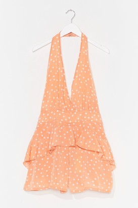 Nasty Gal Womens Dot's It Gonna Be Halter Ruffled playsuit - Orange - M