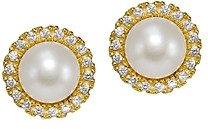 Aqua Cultured Freshwater Pearl & Cubic Zirconia Halo Button Earrings - 100% Exclusive