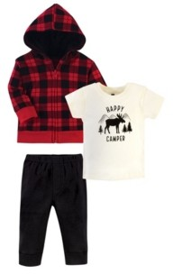 Hudson Baby Toddler Boys and Girls 3 Piece Cotton Hoodie, Tee Top and Pant Set