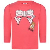 Moschino Girls Pink Bow Print Top