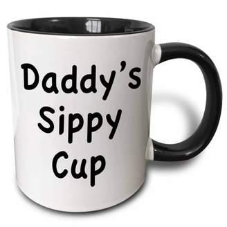 3dRose Daddy?s sippy cup, Two Tone Black Mug, 11oz