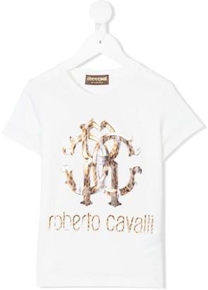 Roberto Cavalli Junior leopard logo print T-shirt