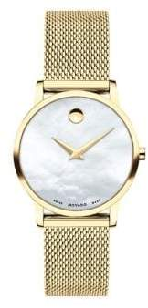 Movado Museum Stainless Steel & Mother-Of-Pearl Mesh Bracelet