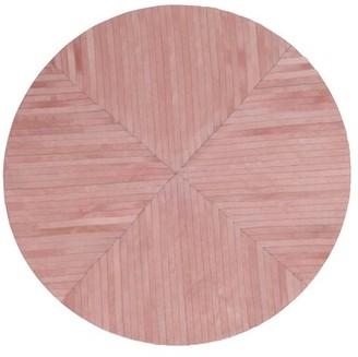 "Art Hide Round La Quinta Striped Flatweave 4'11"" Cowhide Pink Area Rug Rug Size: Round 4'11"""