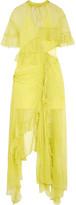 Preen by Thornton Bregazzi Azura Cutout Asymmetric Ruffled Silk-chiffon Midi Dress - Chartreuse