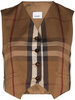 Burberry Button-Up Check Print Waistcoat