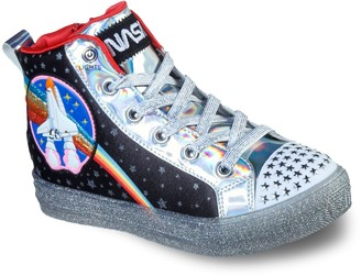 Skechers Twinkle Toes Shuffle Brights Girls' Light Up High Top Shoes