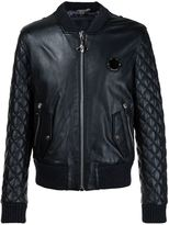 Philipp Plein leather quilted sleeve bomber