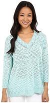 Lilla P Cotton Slub 3/4 Sleeve Oversized V-Neck